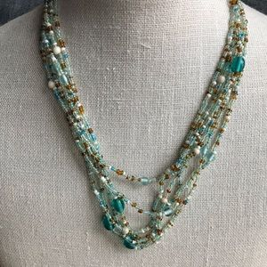 Jewelry - Mint green/pale turquoise multi strand necklace